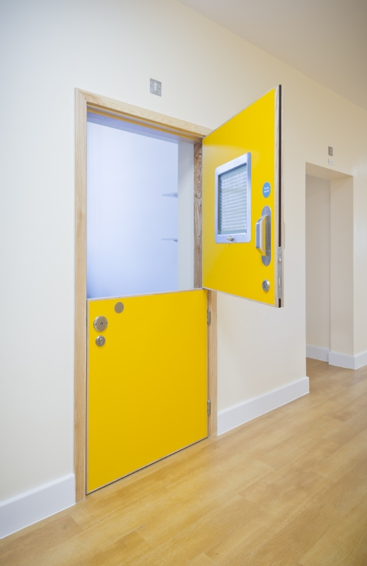 Stable split leaf fire rated doorset for mental health