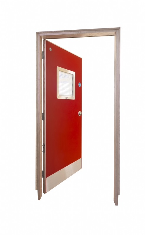 Solo single action doorset for mental health with Duralux privacy vision panel